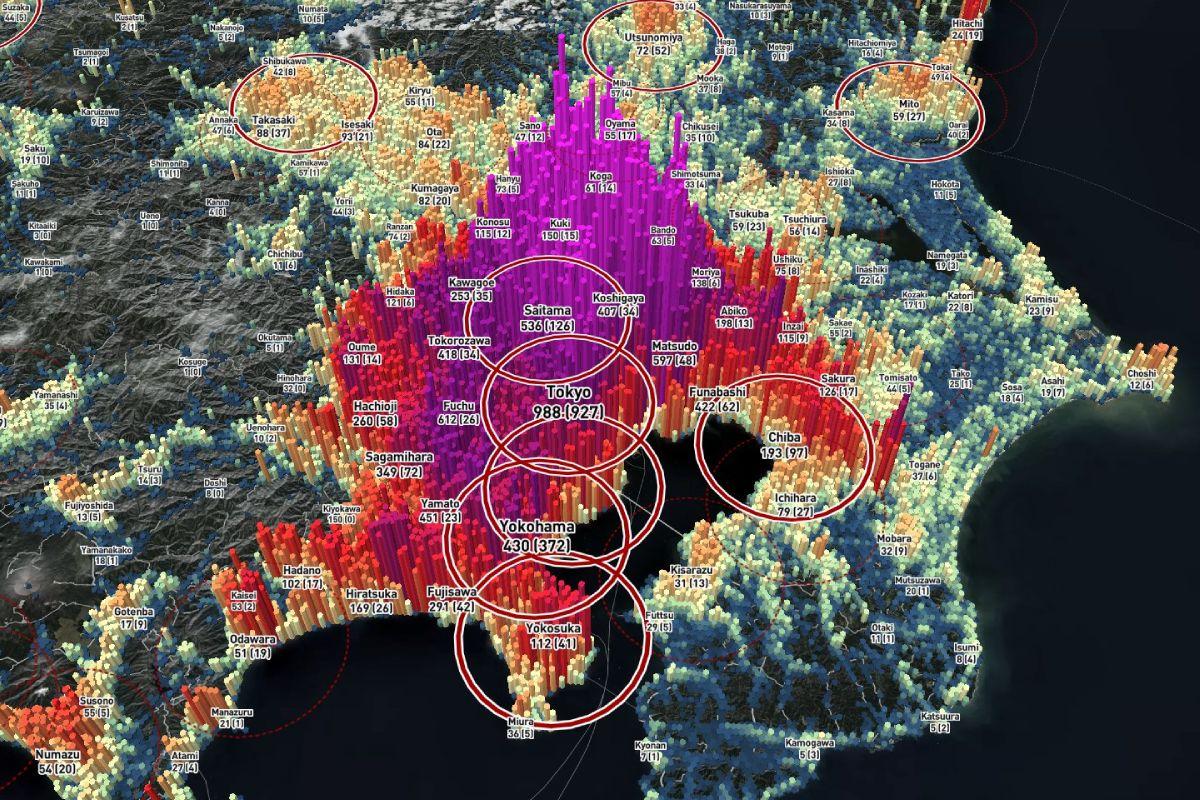 東京を始めとした首都圏の3Dマップ。北関東に人口が密集。