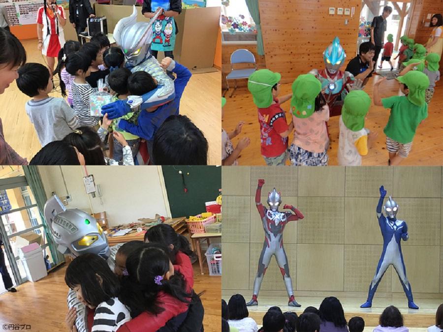 子どもたちへの支援活動として、被災地の幼稚園・保育園、児童養護施設をはじめ、子ども医療施設などへのウルトラヒーローたちの支援訪問を中心に、10年にわたって活動しています。