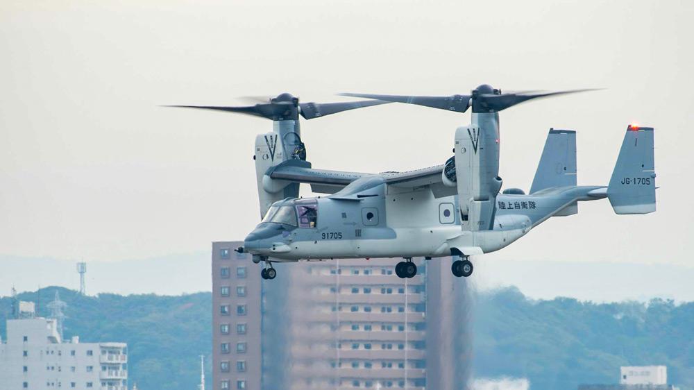 木更津駐屯地で試験飛行中の陸上自衛隊MV-22(Image:USMC)