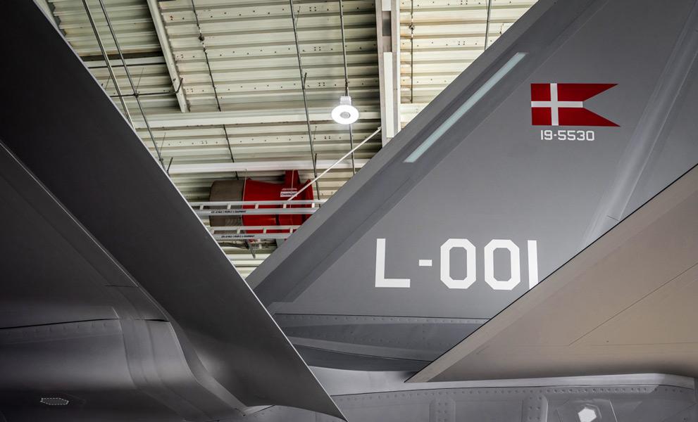 デンマーク空軍F-35の垂直尾翼に描かれたデンマークの旗(Image:デンマーク国防軍)