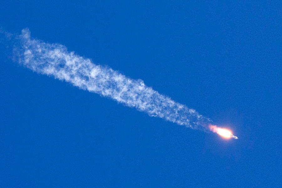 上昇するソユーズMS-18(Image:Roscosmos)