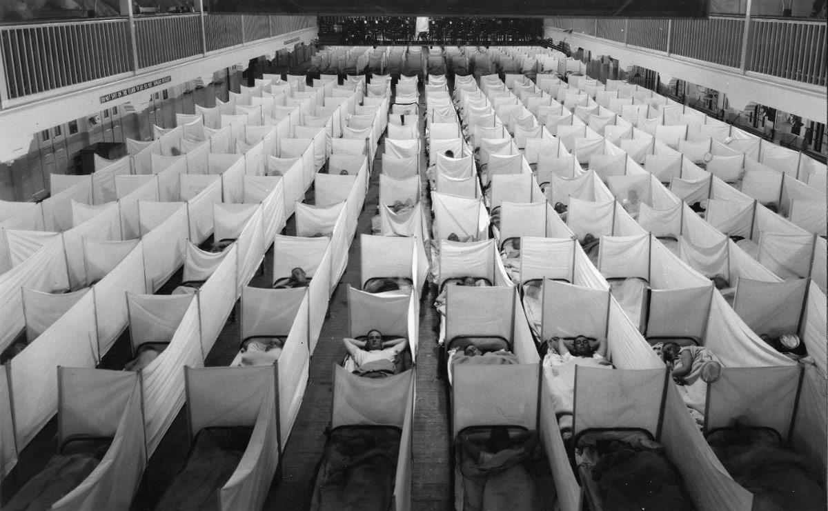 1918年のインフルエンザ大流行での臨時療養所(Image:U.S.Navy)