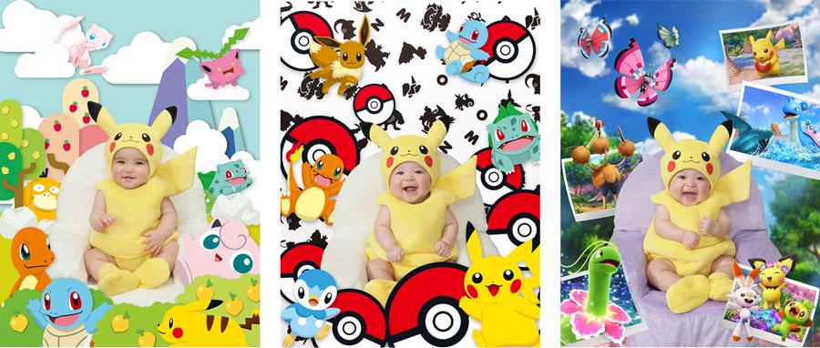 「ピカチュウ」の赤ちゃん専用衣装と3種類の専用背景
