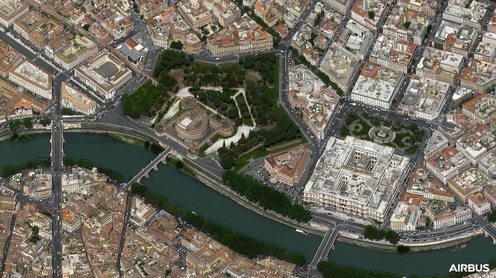 プレアデス・ネオ3号機が撮影したサンタンジェロ城と最高裁判所(Image:Airbus)