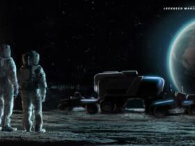 アルテミス計画での宇宙飛行士と月面車の想像図(Image:GM/Lockheed Martin)