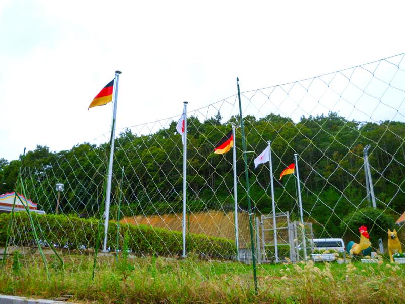 「白鳥城」のモチーフであるドイツノイシュバンシュタイン城もあってか日本とドイツの国旗が掲揚