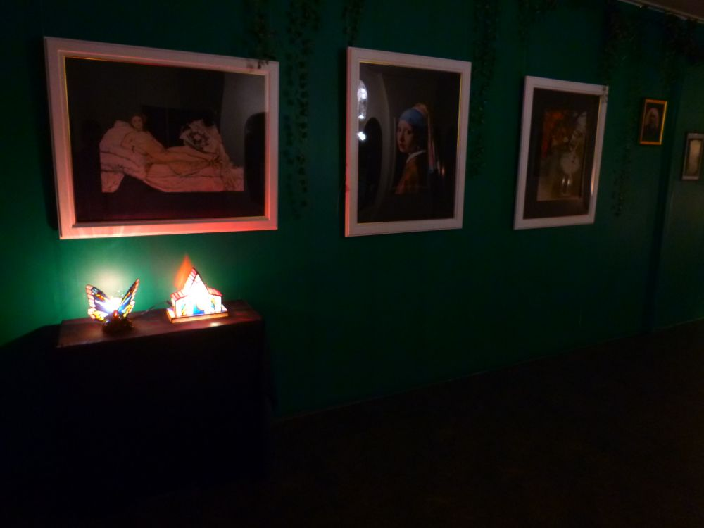 暗闇がかった空間で様々な絵画やアートの展示が