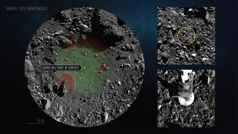 OSIRIS-RExのサンプル採取地点ナイチンゲール(Image:NASA/アリゾナ州立大学)