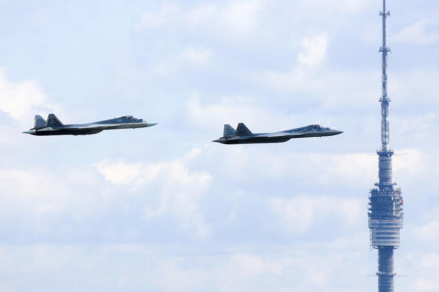 Su-57も参加(Image:ロシア国防省)