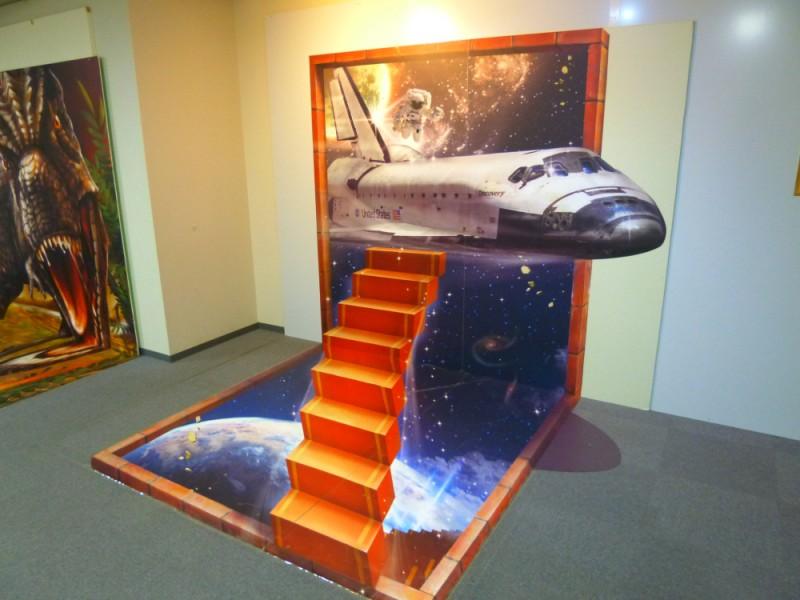 スペースシャトルのトリックアート