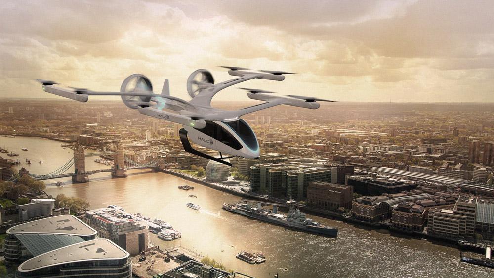 ロンドン上空を飛ぶEVEのeVTOL(Image:Eve Urban Air Mobility Solutions)
