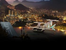 リオデジャネイロの夜景とEVEのeVTOL(Image:Eve Urban Air Mobility Solutions)