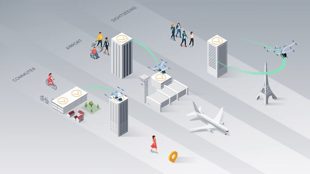 EVEのeVTOL利用イメージ(Image:Eve Urban Air Mobility Solutions)