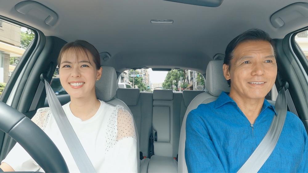 普段とは違い桃子さんの運転で出発