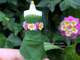 ランタナで作った「妖精のドレス」(桃月さん提供)