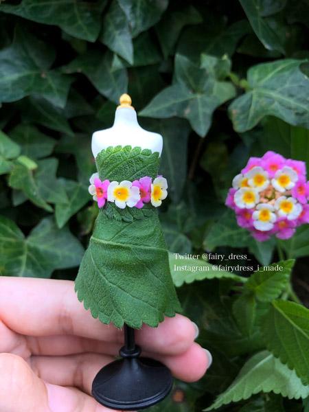 ミニチュアサイズのオートクチュール ランタナの花と葉でできた「妖精のドレス」が美しい