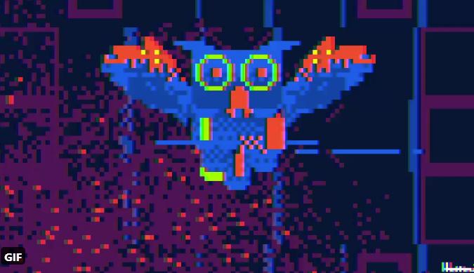 服部さんが生み出したふくろうGIFに写し出されていた青いフクロウ。