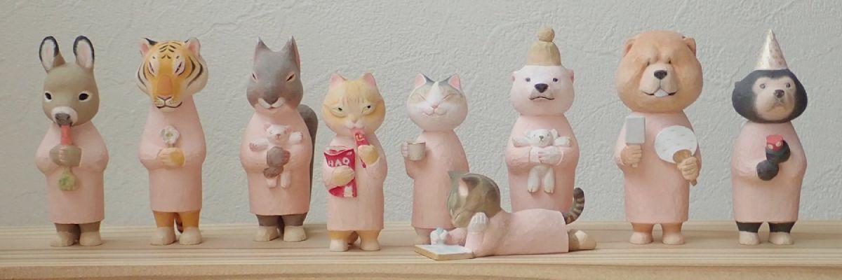 様々な動物をモデルにした木彫りの創作活動をしている投稿者。