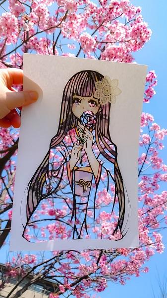 春には桜の花と融合