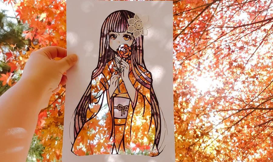秋には紅葉と融合