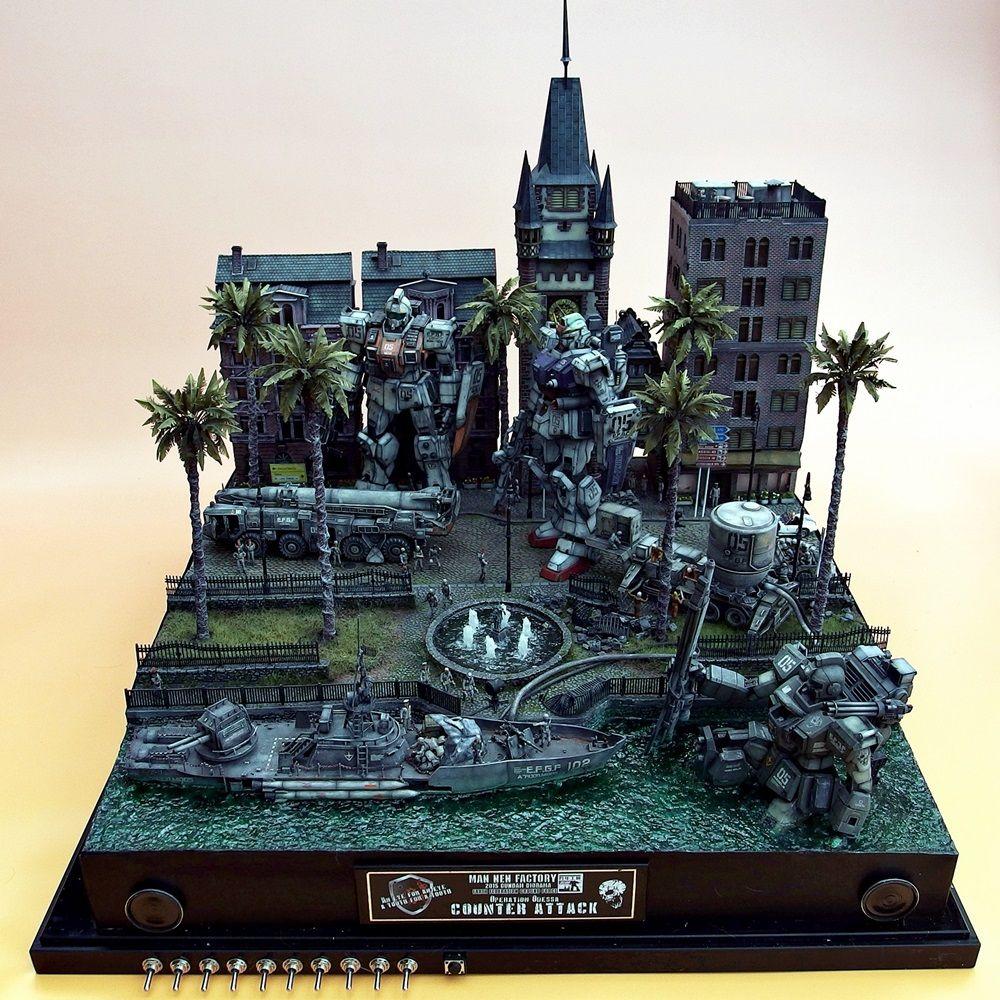 基地だけでなく、市街地などのジオラマも作るまんねん工房さん。