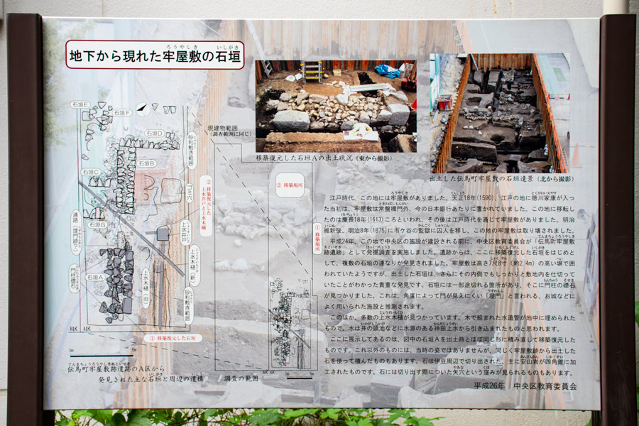 「伝馬町牢屋敷の石垣」説明板