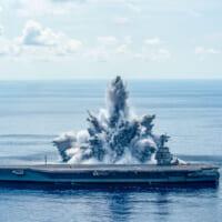 アメリカ最新空母フォード 爆薬18トンを使った最終の水中爆発…