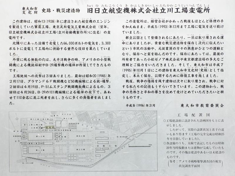 「旧日立航空機株式会社立川工場変電所」説明パネル