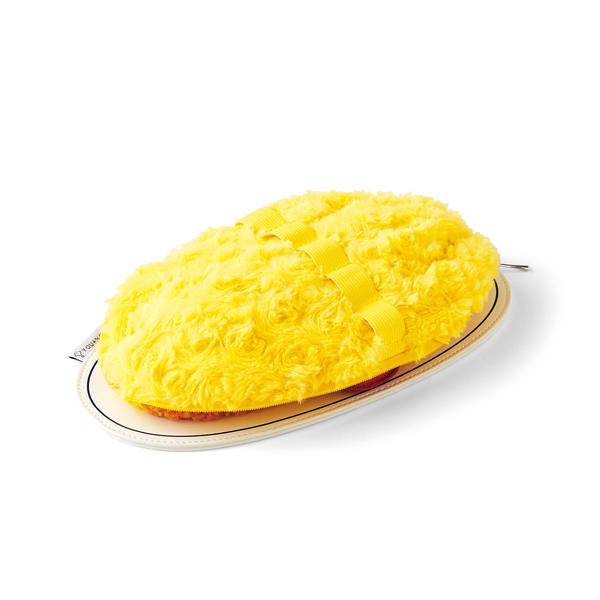 半熟卵に見立てたうずまき状のファー生地