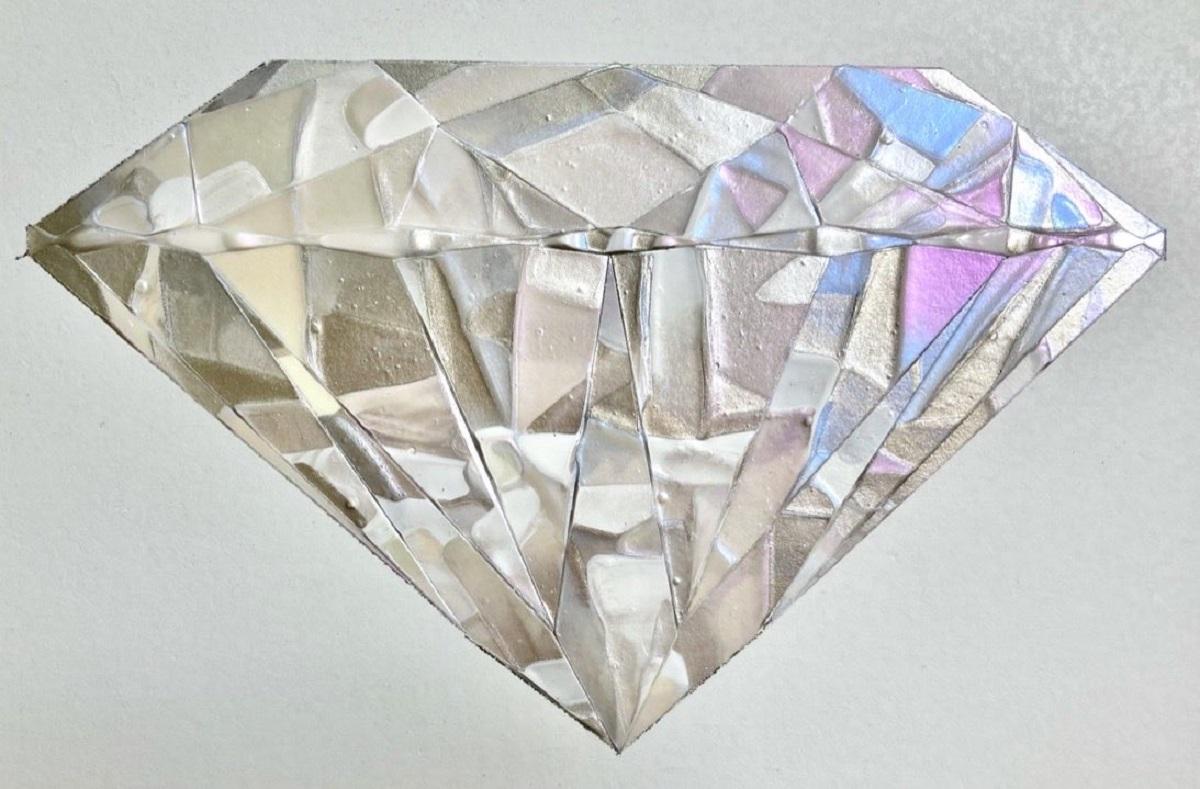 見る角度で色合いが変わる 不思議な宝石の絵