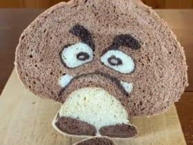 椎茸の形をしたパンを切ると……登場したクリボーの完成度にビックリ
