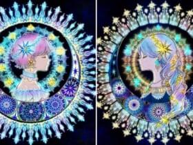 夜空に輝く「星の姉妹」をイラストレーターが投稿。