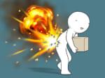 突然やってくる腰痛を爆発で表現したイラスト(株式会社石井マーク提供)