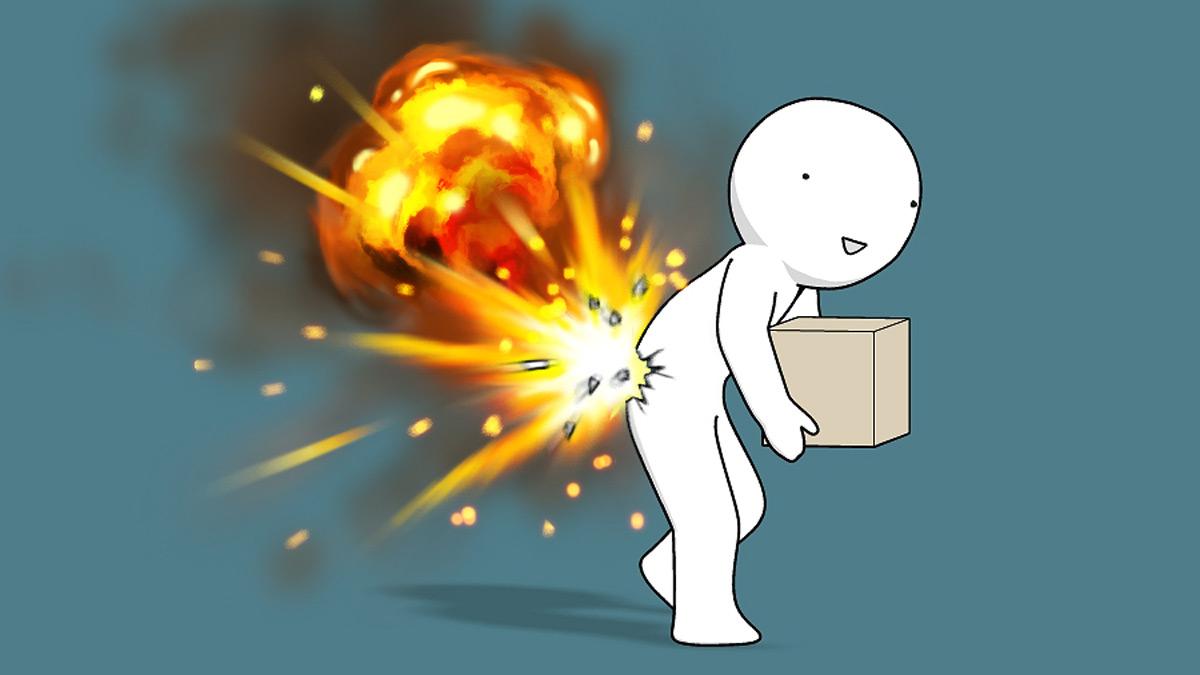 突然やってくる腰痛を爆発で表現 腰痛経験者から「わかる」